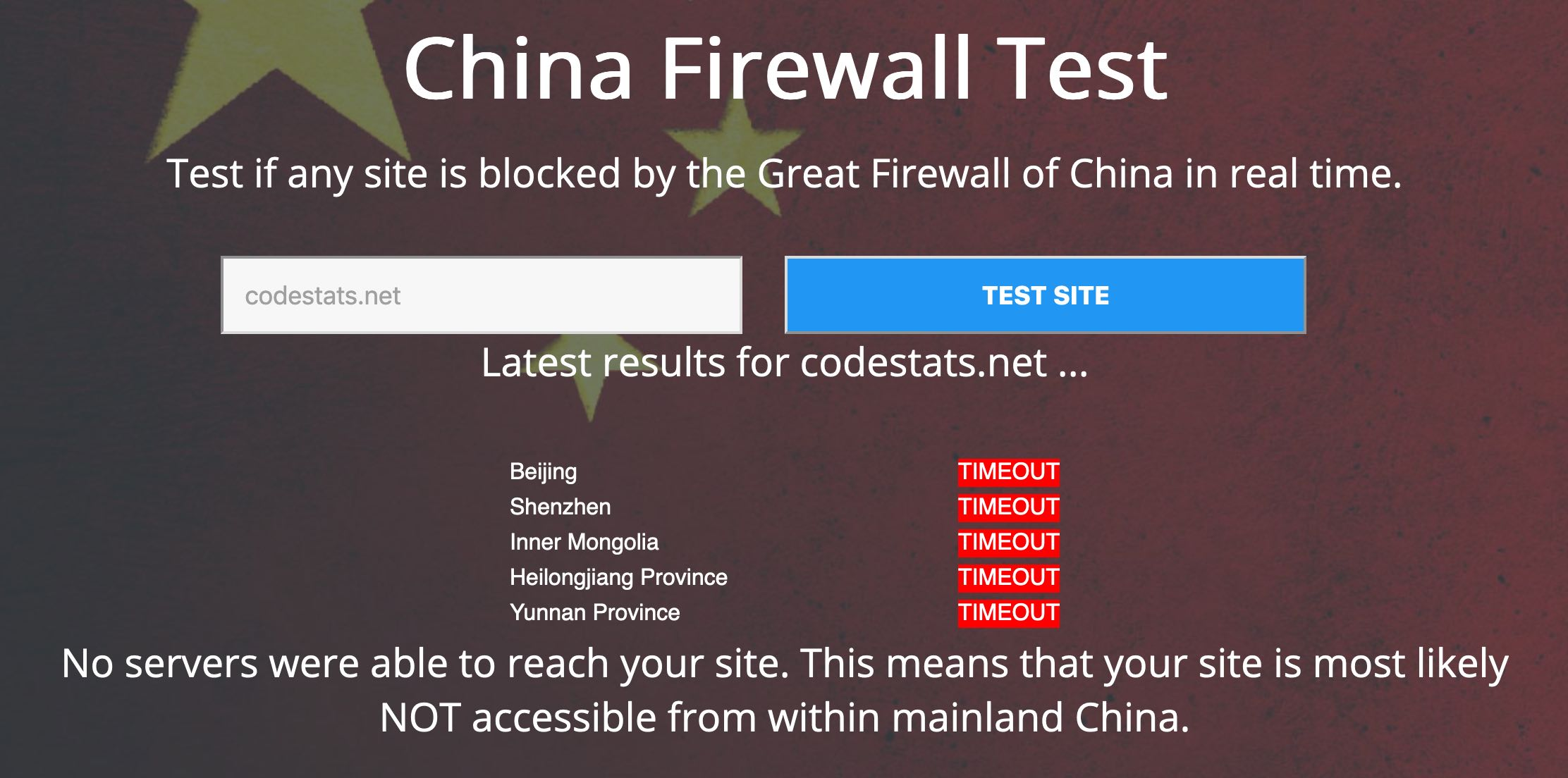 Screenshot from website showing codestats.net is not accessible from China
